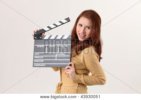 Girl with Movie Slate on the white background