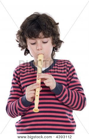 Adorable Kind spielen Flöte