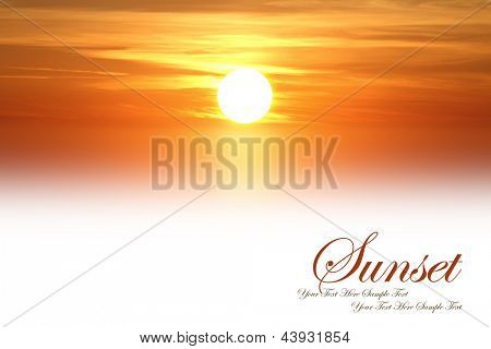 Beautiful sunset isolated on white background