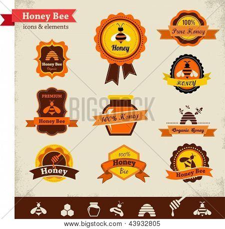 Miel de abeja vector etiqueta conjunto