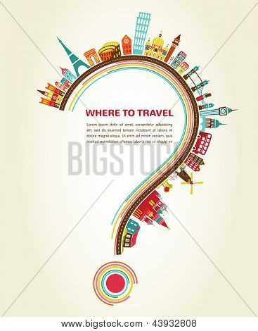 question mark with tourism icons and elements, infographic