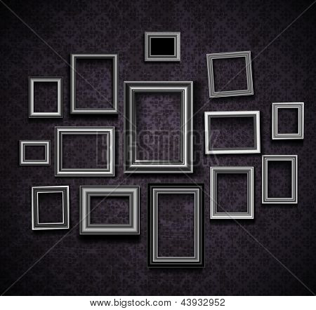 Picture frame vector. Vintage photo frames on old wall