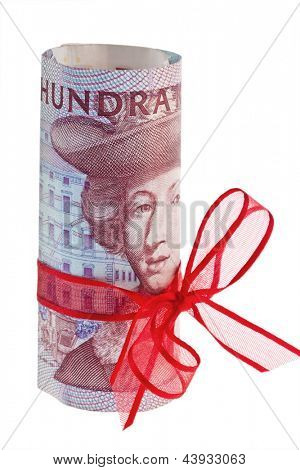 swedish krona, the currency of sweden. with red stitch.