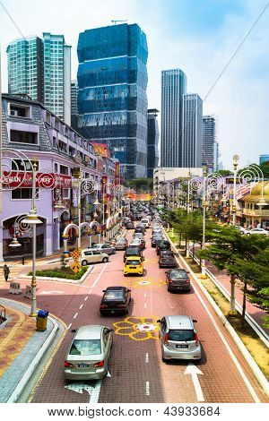 KUALA LUMPUR, MALAYSIA - MARCH 29: Streets in the city center on March 29, 2012 in Kuala Lumpur. KL was ranked 48th among global cities by Foreign Policy and 67th among for economic and soc innovation
