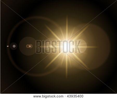 Abstracción con fondo de vector de destello de lente