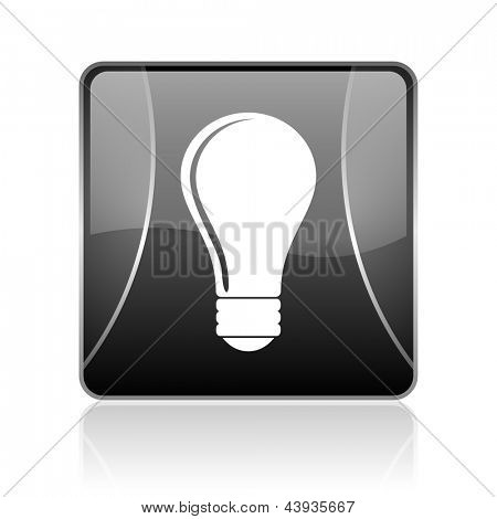 black modern square web glossy icon on white background with reflaction