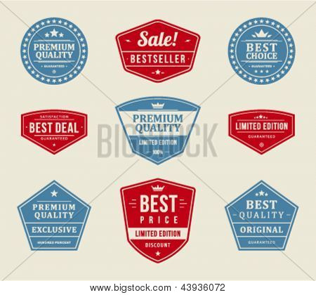 Vintage labels or badges retro style set. Vector design elements.