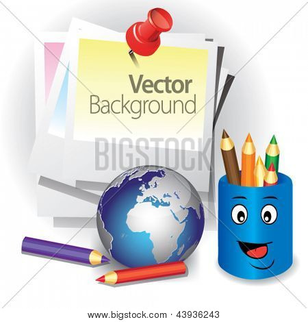 Sheet paper pinned by pin with pencil  on white background. Concept of global education. Vector illustration isolated,