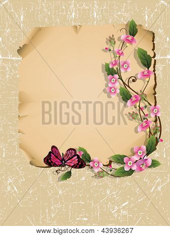 Vector wooden frame with  beautiful bouquet flowers and butterfly