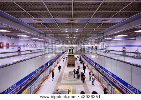 TAIPEI, TAIWAN - JANUARY 14: Sun Yat-Sen Memorial Hall Station January 14, 2013. The station dates from 1999 and has automatic platform gates due to holiday overcrowding.