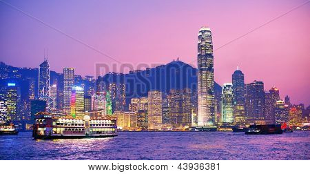 HONG KONG - OCTOBER 15: Hong Island viewed from Victoria Harbor October 15, 2012 in Hong Kong, PRC. With a population of seven million, The city is one of the most densely populated in the world.