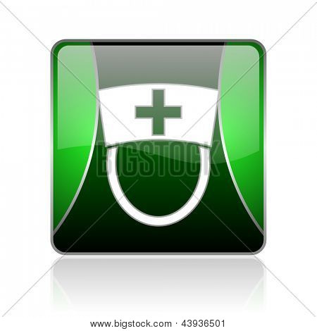 black and green square glossy internet icon on white background with reflaction