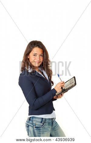 portrait of young employee, isolated on white background