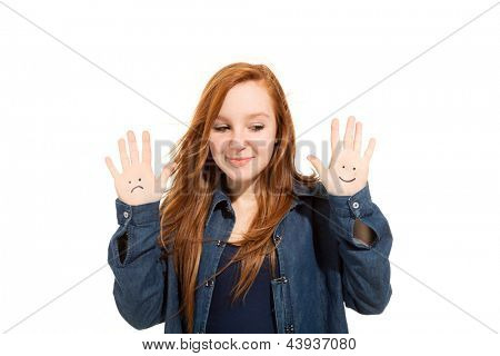 portrait of cute girl, isolated on white background