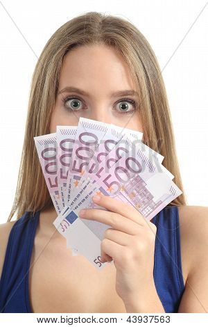 Beautiful Woman Surprised And Holding A Lot Of Five Hundred Euro Banknotes