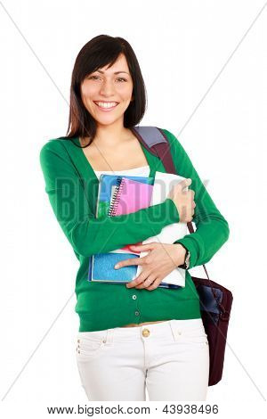 Female student holding a books isolated on white background