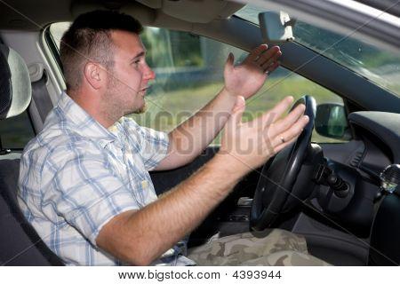 Casual Man In Car