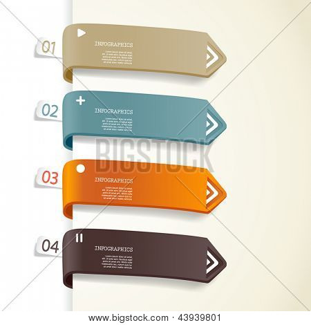 Four colored paper stripes with place for your own text.