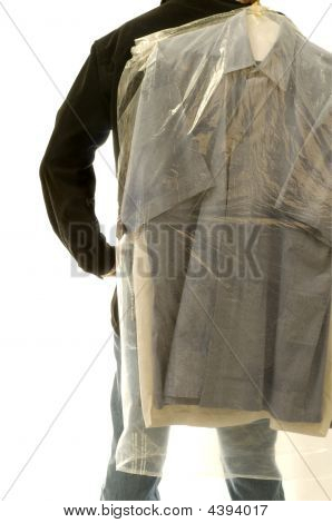 Man With Dry Cleaning
