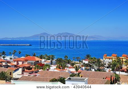 a view of Lobos Island from Corralejo in Fuerteventura, Canary Islands, Spain