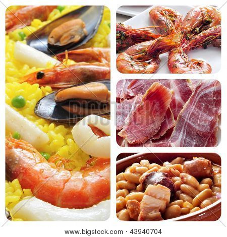 a collage of four pictures of different spanish tapas and dishes, such as paella, jamon or fabada