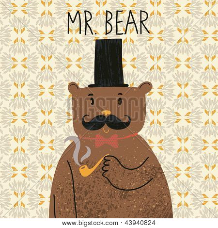 Mr bear. Cute cartoon bear in classical style with top hat, smoking pipe, bow-tie and nice mustache. Vector cartoon character on vintage seamless pattern