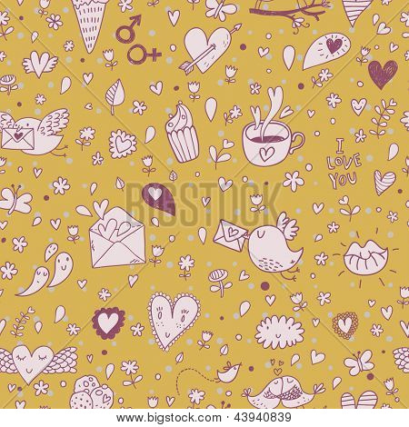 Cartoon tasty romantic seamless pattern. Birds, lips, hearts, coffee and cakes in stylish background. Pattern can be used for wallpapers, pattern fills, web page backgrounds, surface textures.
