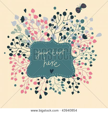 Abstract floral card. Textbox in flowers � cute vector background