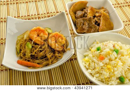 Chinese food dishes, rice, noodles, beef with bamboo