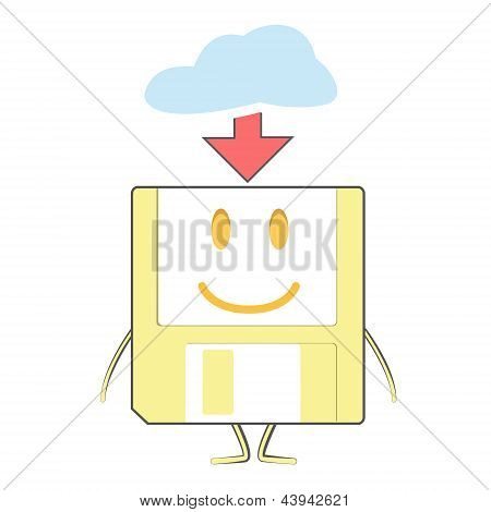 Cute Diskette On Isolated Background.