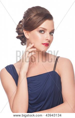 Portrait of young beautiful woman with red lipstick and hairstyle. Isolated on white background