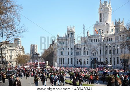 MADRID - MARCH 11: Demonstration of Communist Party at Cibeles Square on March 11, 2012 in Madrid, Spain. Spaniards came out on March 11 on streets 60 cities to protest against labor law reform.