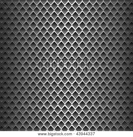 Seamless texture background - black metal surface square perforated.