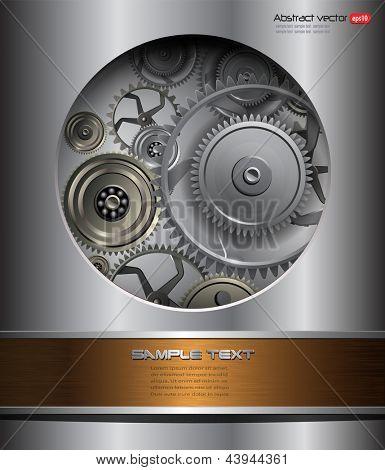 Technology background, 3D metallic vector gears.