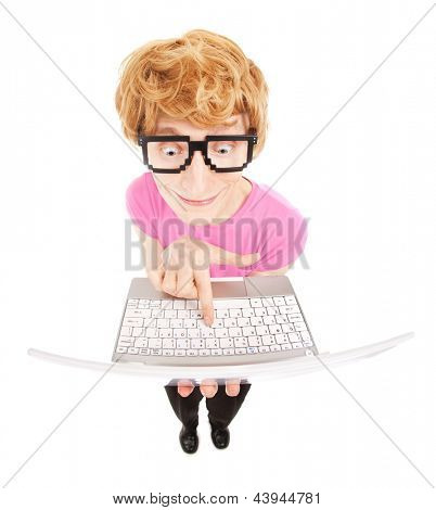 Funny nerdy guy with a laptop computer