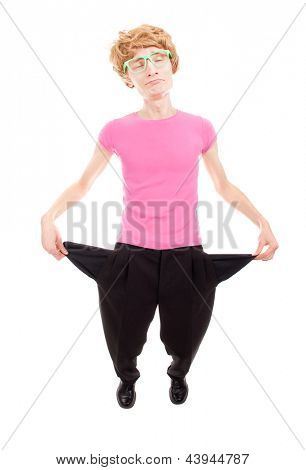 Funny unemployed man showing empty pockets isolated on white background