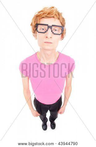 Funny nerdy guy wearing computer geek retro glasses
