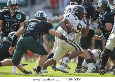 VIENNA, AUSTRIA - APRIL 29:  RB Amos Allen (#9 Panthers) runs with the ball on April 29, 2012 in Vienna, Austria.