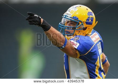 VIENNA, AUSTRIA - JUNE 2: WR Armando Ponce De Leon (#15 Giants) points towards the endzone on JUNE 2, 2012 in Graz, Austria.