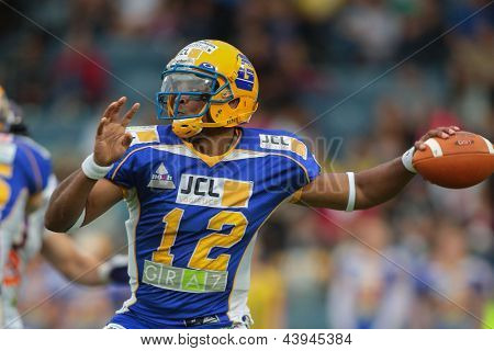 VIENNA, AUSTRIA - JUNE 2:  QB Chris Gunn (#12 Giants) passes the ball on JUNE 2, 2012 in Graz, Austria.