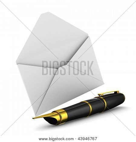 fountain pen and envelope on white background. Isolated 3D image