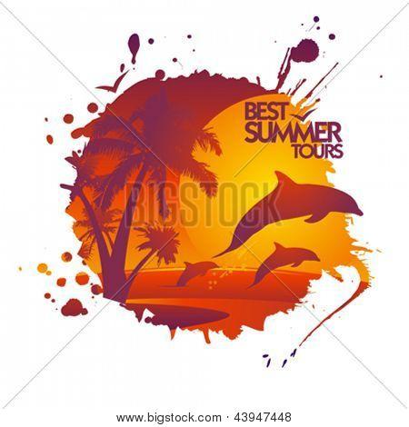 Beste Sommer-Touren Entwurfsvorlage in Form von Fleck mit Delphinen bei Sonnenuntergang.