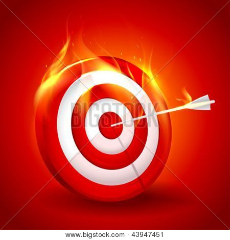 White and red burning target design. Eps10.