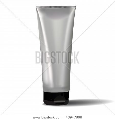Tube Of Cream Or Gel Grayscale Silver  Black White Clean.