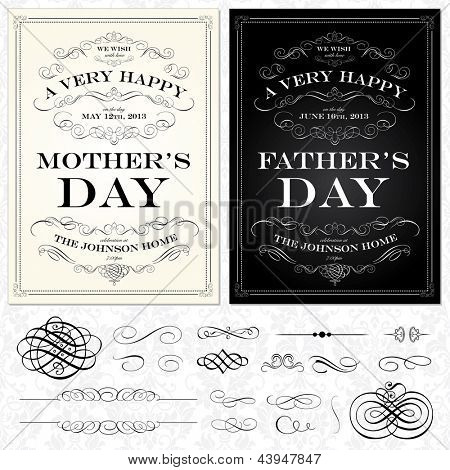 Vector Mother and Fathers Day Frames. Easy to edit. All layers are separated.