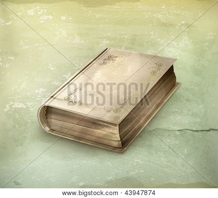 Old book icon, old style vector