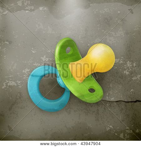 Pacifier, icon old style vector