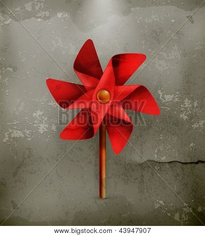 Pinwheel toy, old style vector