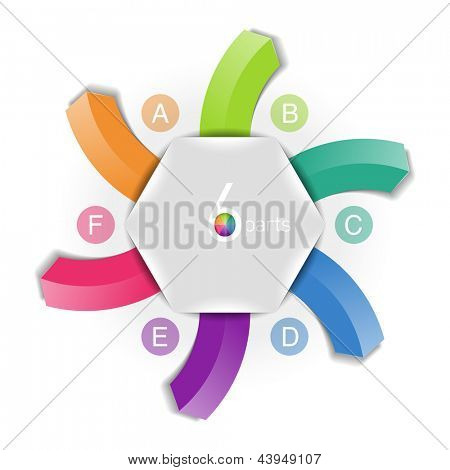 Six directions arrows design element. Fully editable vector.