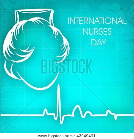 International nurses day concept with illustration of a nurse on cardiogram background.